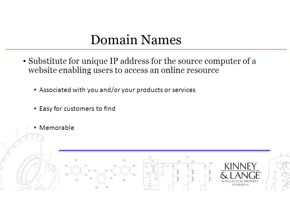 Domain Names Substitute for unique IP address for the source computer of a website enabling users to access an online resource.