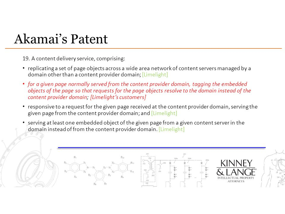 Akamai's Patent 19. A content delivery service, comprising:
