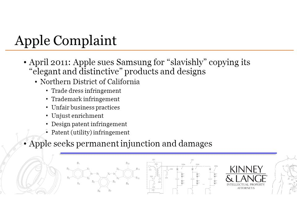 Apple Complaint April 2011: Apple sues Samsung for slavishly copying its elegant and distinctive products and designs.