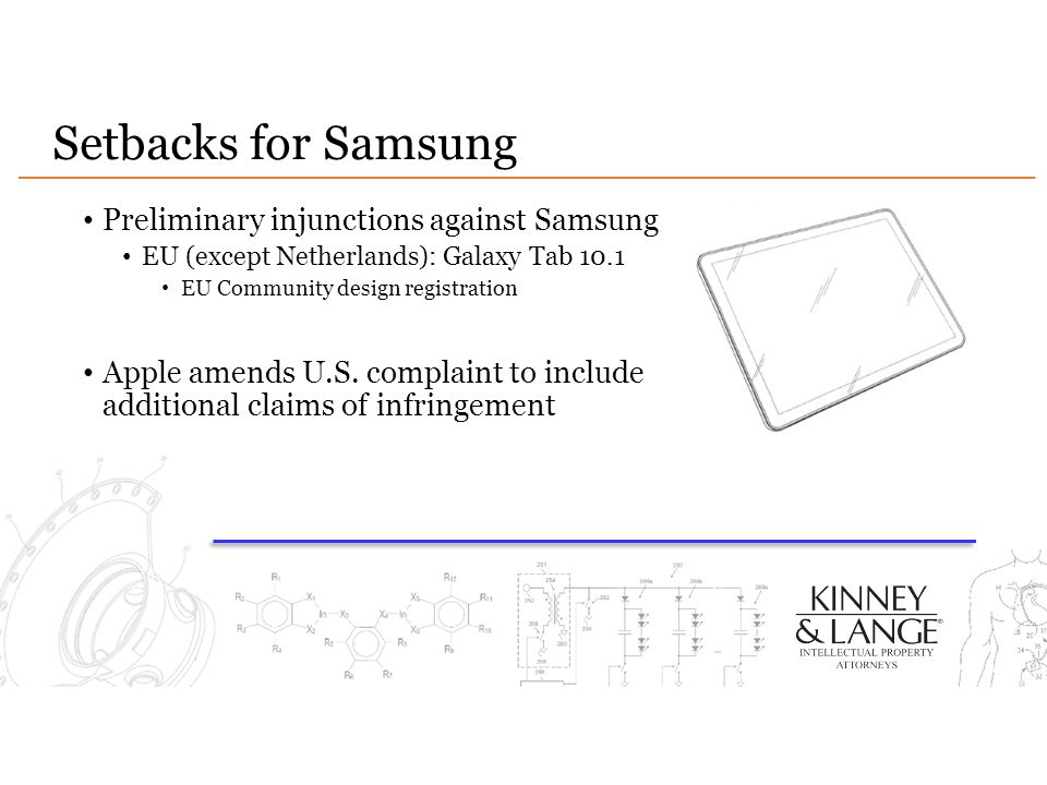 Setbacks for Samsung Preliminary injunctions against Samsung