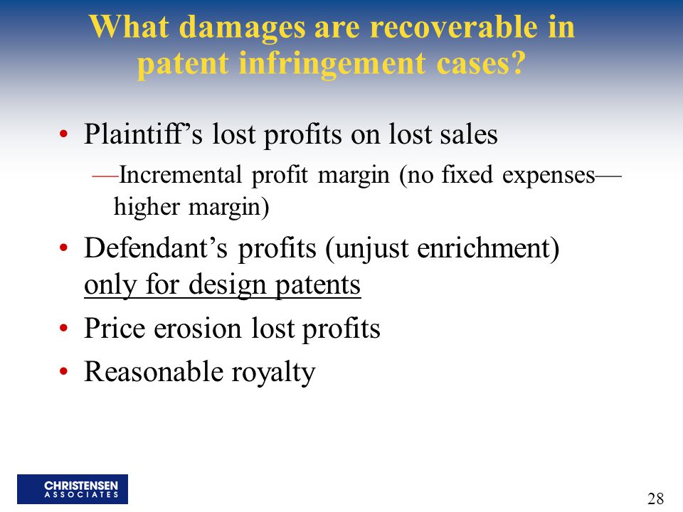 What damages are recoverable in patent infringement cases