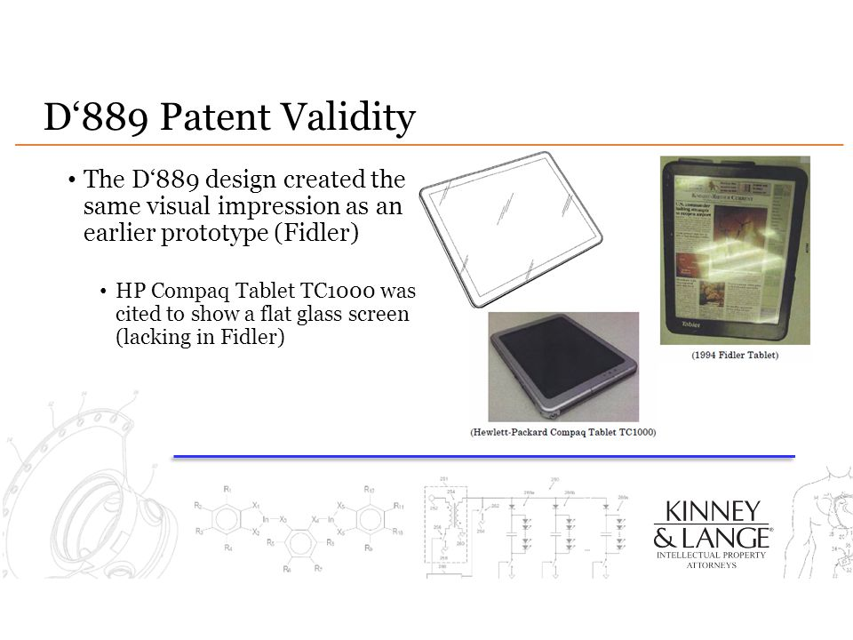 D'889 Patent Validity The D'889 design created the same visual impression as an earlier prototype (Fidler)