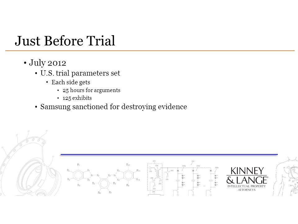 Just Before Trial July 2012 U.S. trial parameters set