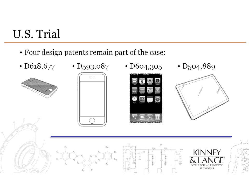 U.S. Trial Four design patents remain part of the case: D618,677