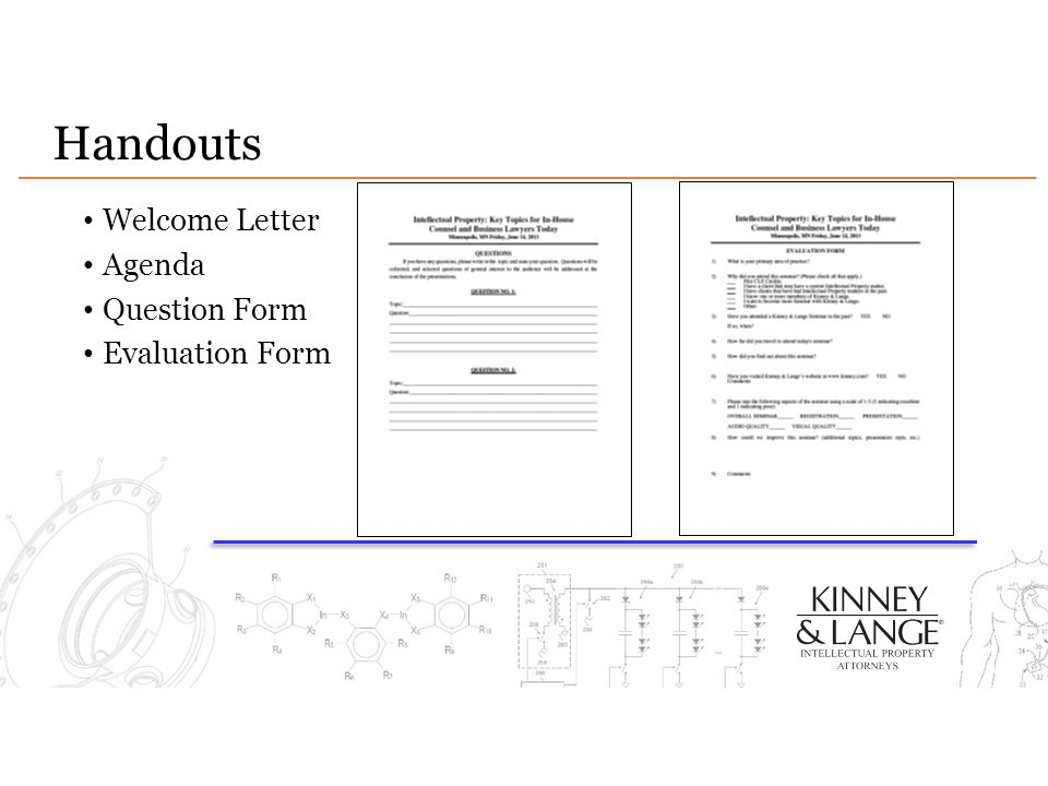 Handouts Welcome Letter Agenda Question Form Evaluation Form