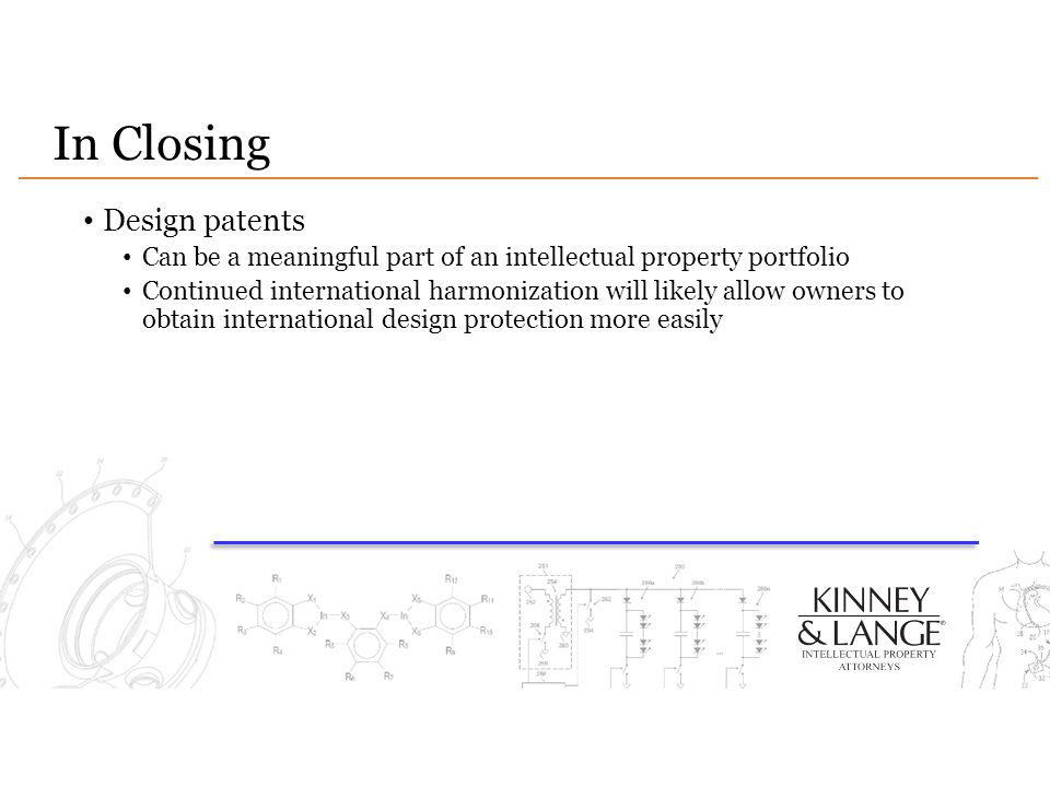 In Closing Design patents