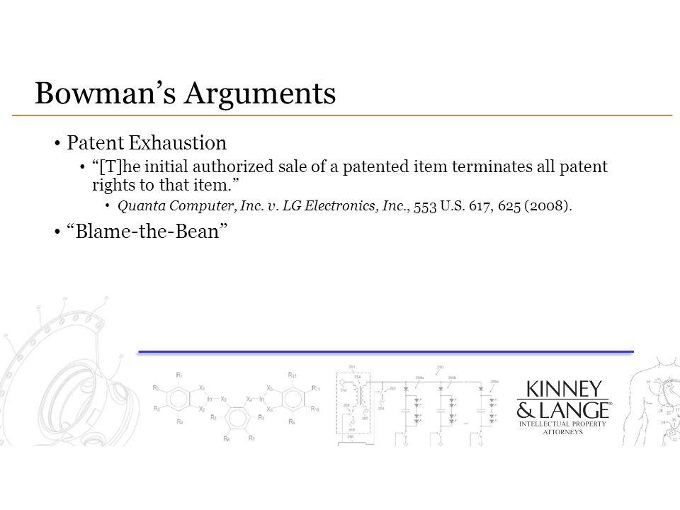 Bowman's Arguments Patent Exhaustion Blame-the-Bean