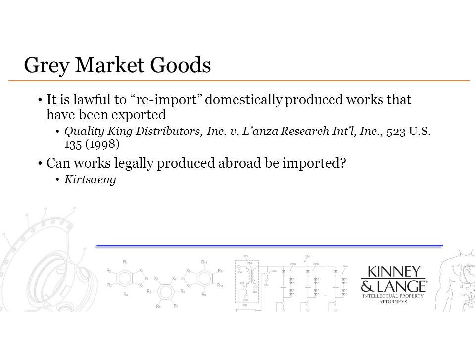 Grey Market Goods It is lawful to re-import domestically produced works that have been exported.