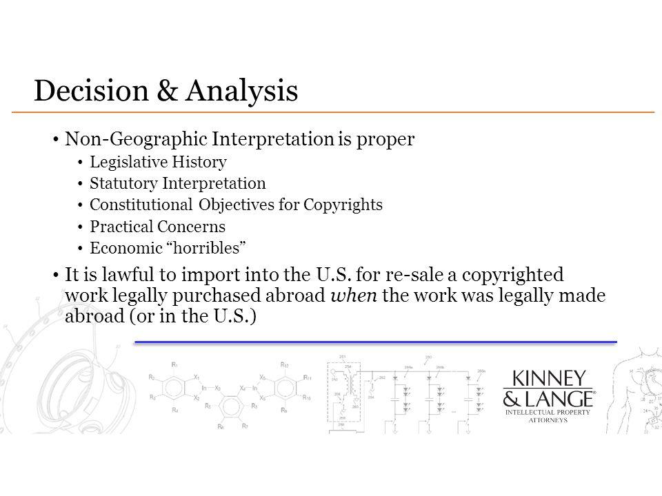 Decision & Analysis Non-Geographic Interpretation is proper