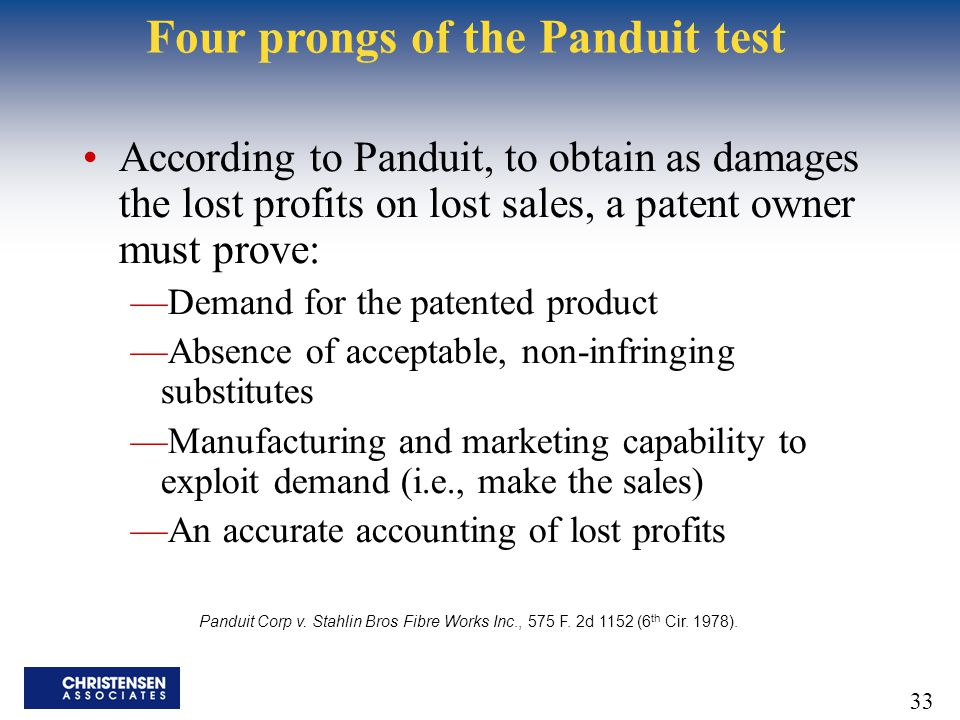 Four prongs of the Panduit test
