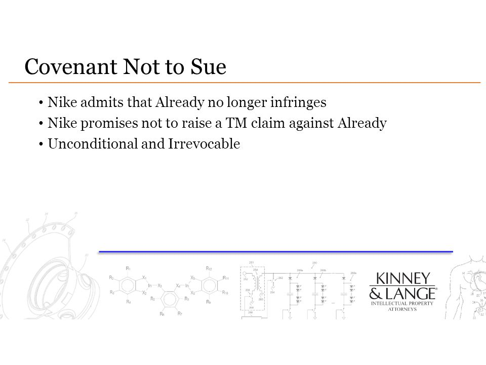 Covenant Not to Sue Nike admits that Already no longer infringes
