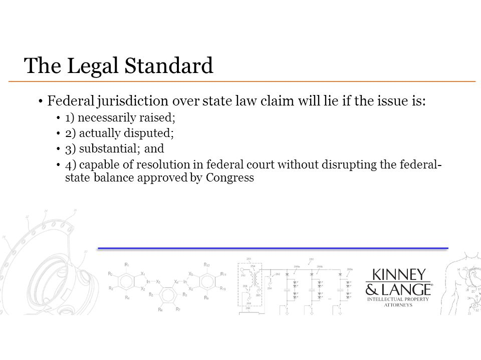 The Legal Standard Federal jurisdiction over state law claim will lie if the issue is: 1) necessarily raised;
