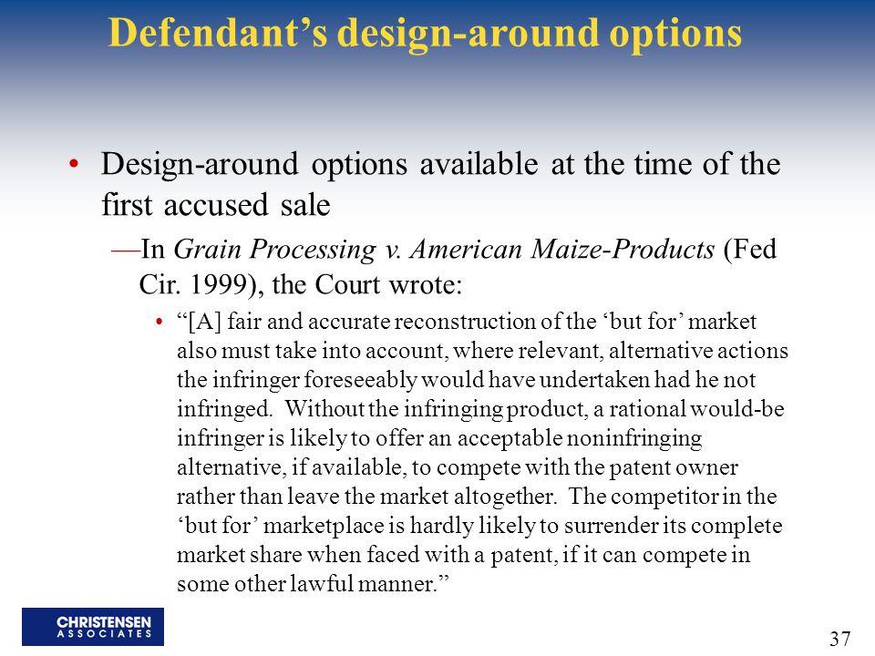 Defendant's design-around options