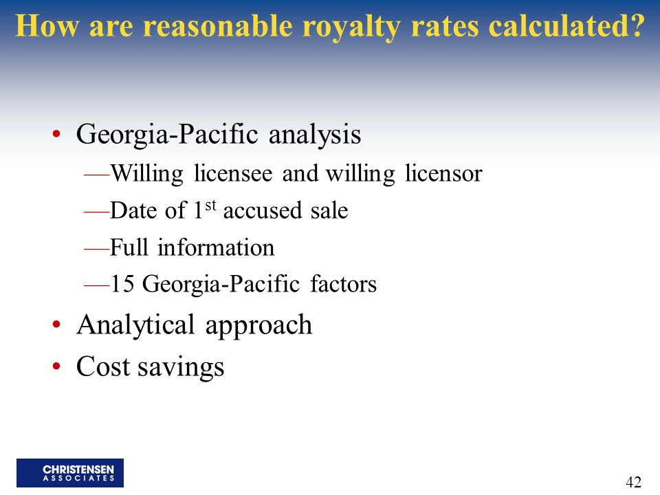 How are reasonable royalty rates calculated