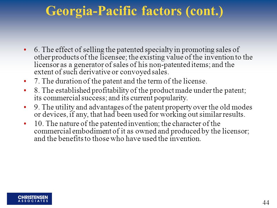 Georgia-Pacific factors (cont.)