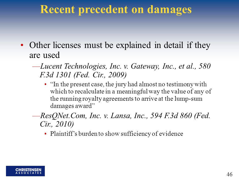 Recent precedent on damages