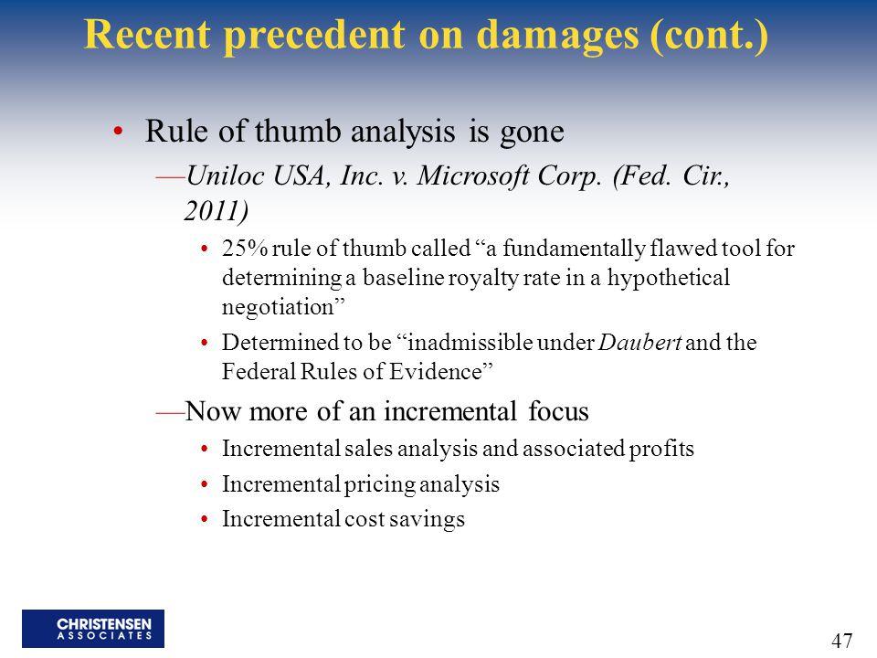 Recent precedent on damages (cont.)