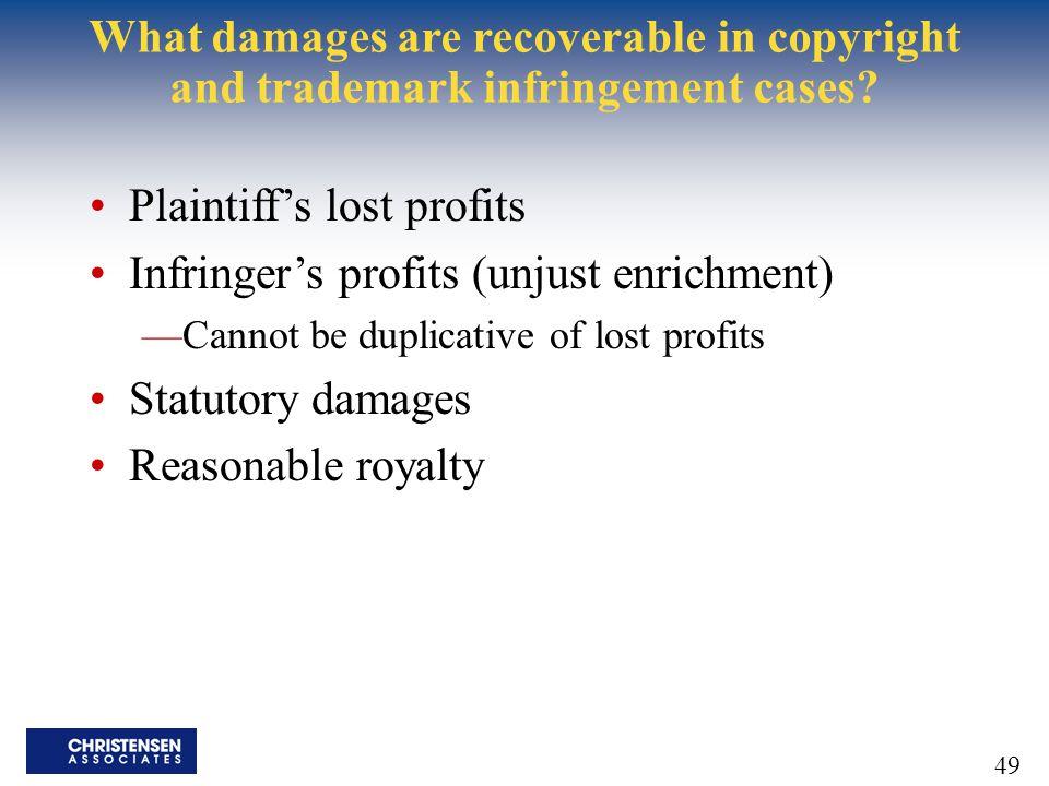 Plaintiff's lost profits Infringer's profits (unjust enrichment)