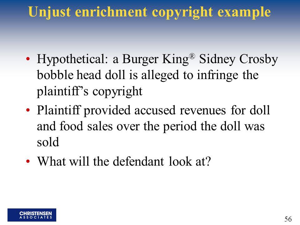 Unjust enrichment copyright example