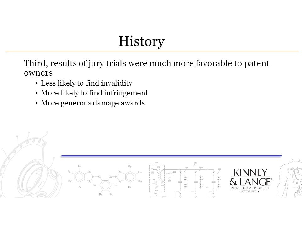 History Third, results of jury trials were much more favorable to patent owners. Less likely to find invalidity.