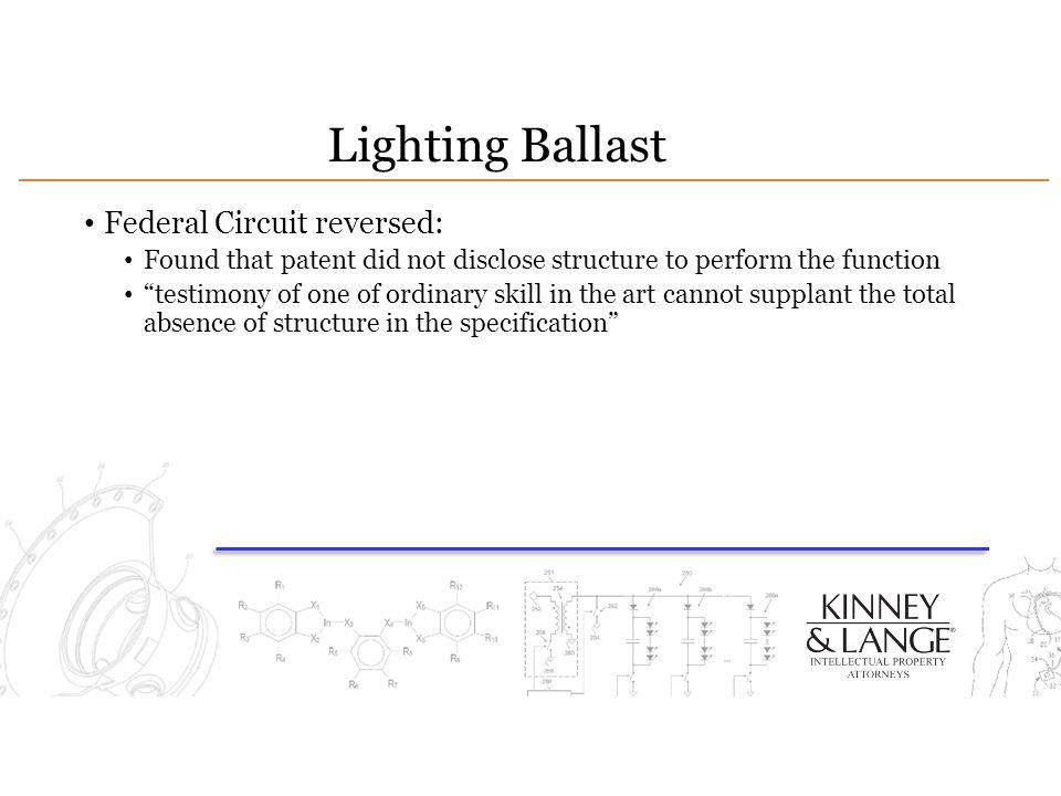 Lighting Ballast Federal Circuit reversed: