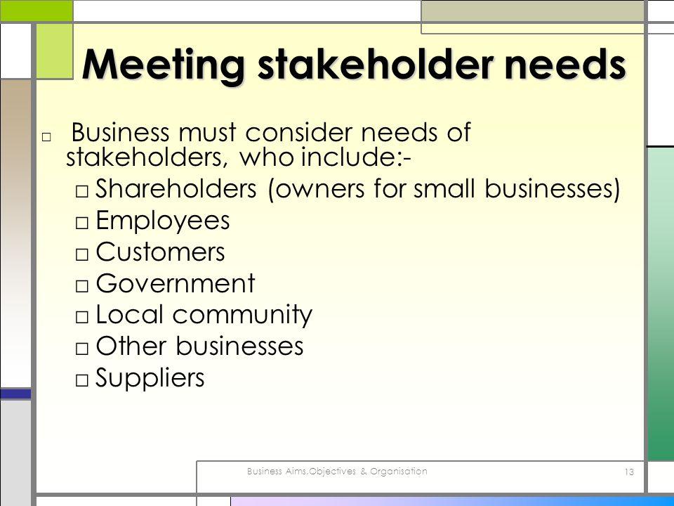 Meeting stakeholder needs