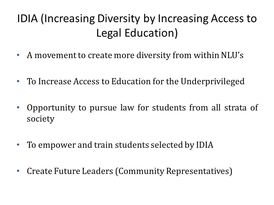 IDIA (Increasing Diversity by Increasing Access to Legal Education)