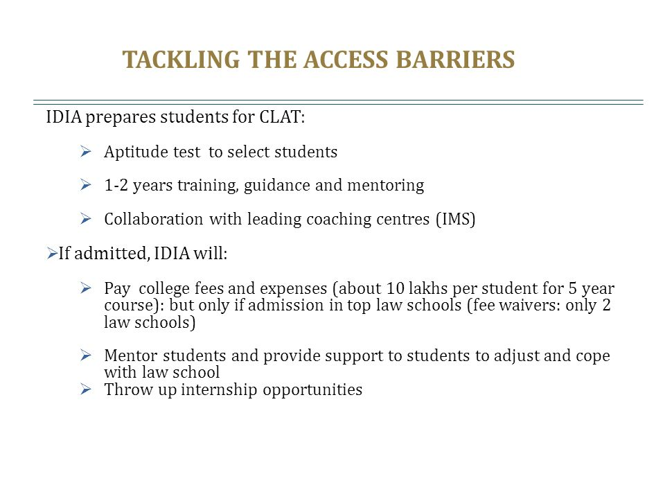 TACKLING THE ACCESS BARRIERS