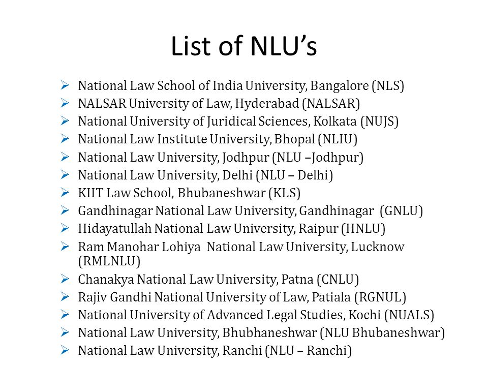 List of NLU's National Law School of India University, Bangalore (NLS)