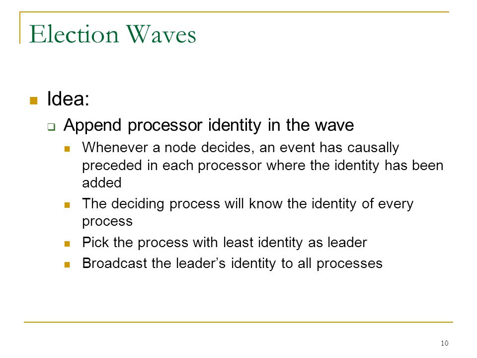 Election Waves Idea: Append processor identity in the wave