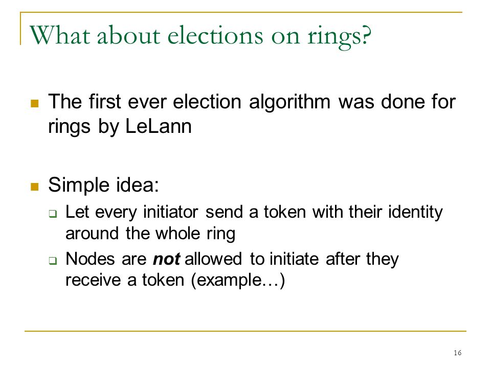What about elections on rings