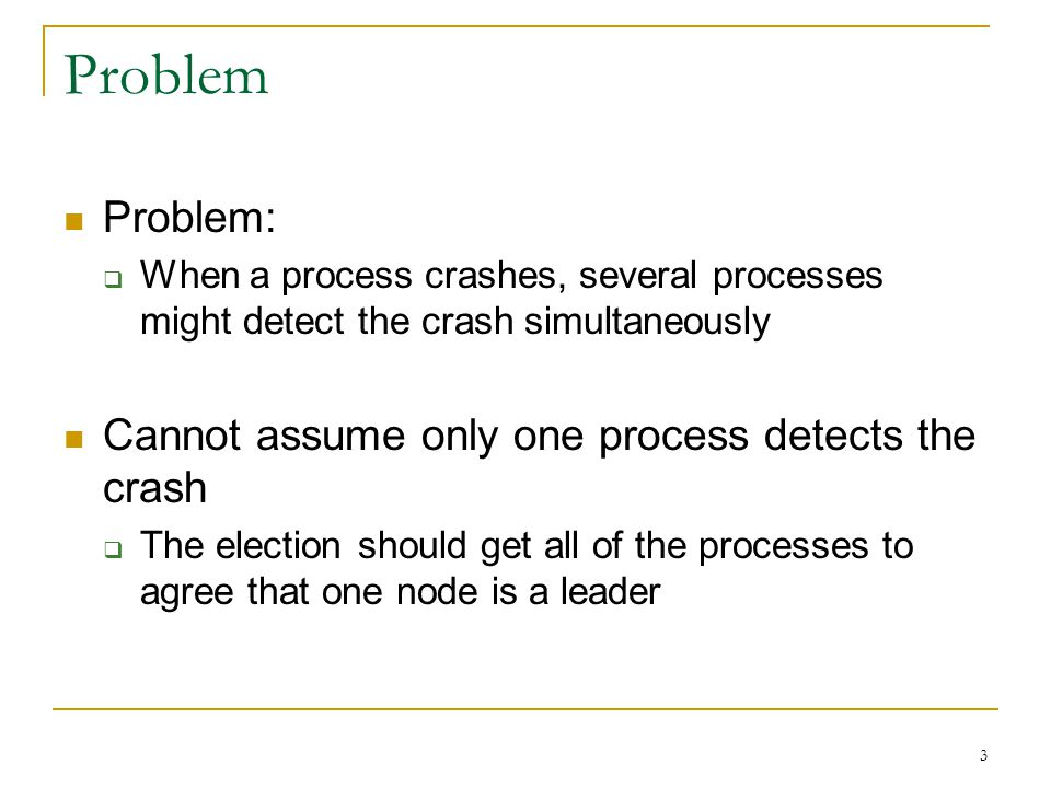 Problem Problem: Cannot assume only one process detects the crash