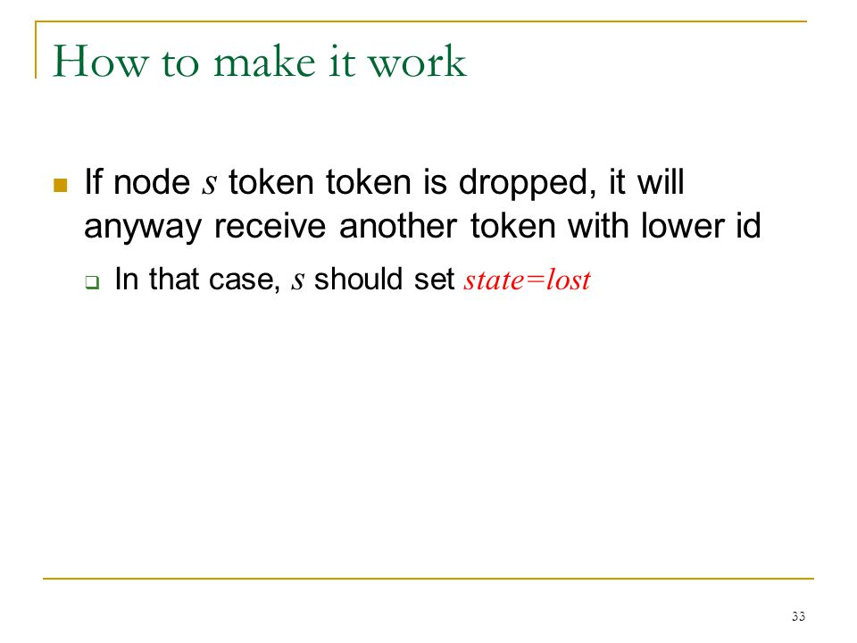 How to make it work If node s token token is dropped, it will anyway receive another token with lower id.
