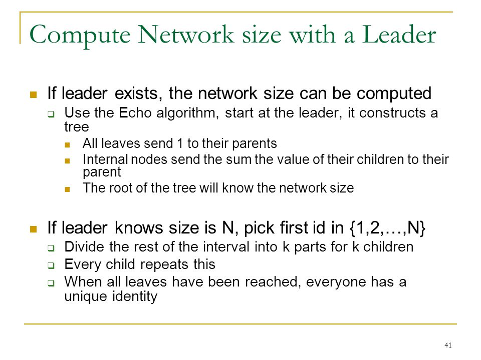 Compute Network size with a Leader