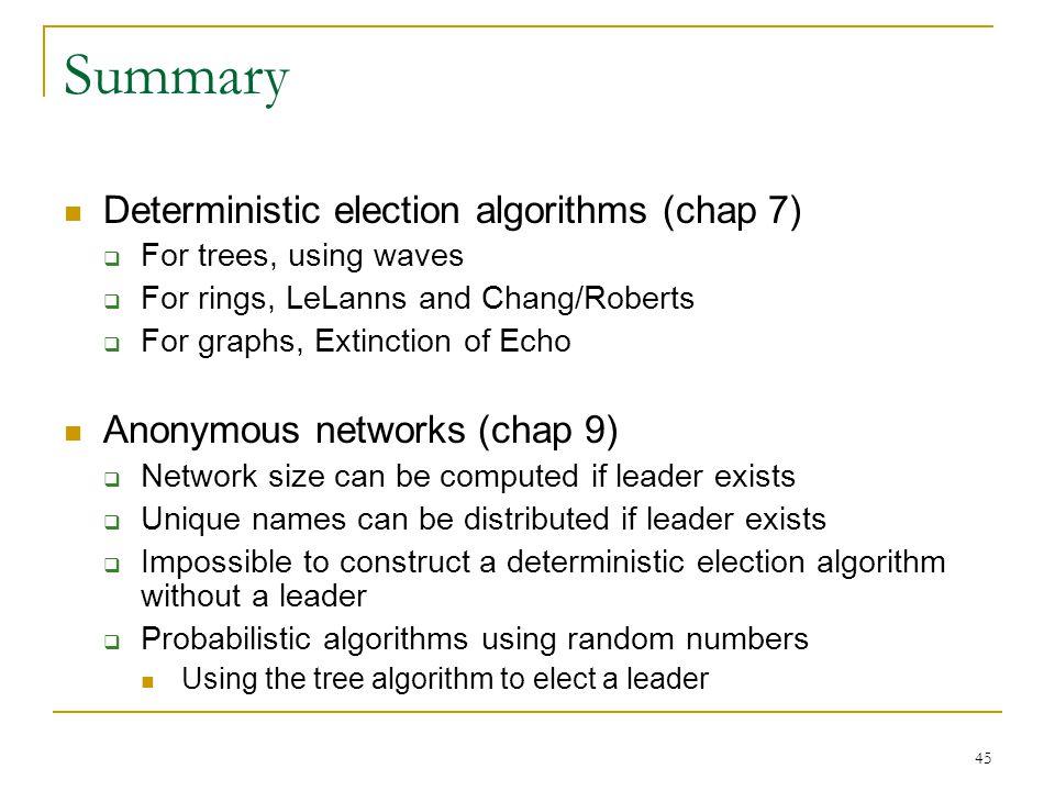 Summary Deterministic election algorithms (chap 7)