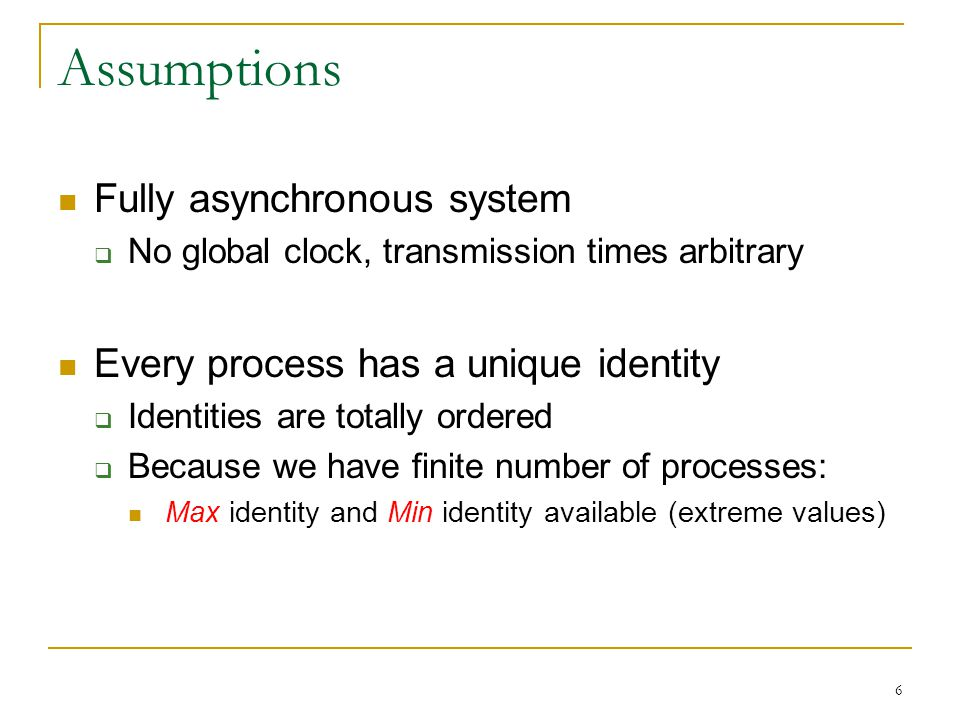 Assumptions Fully asynchronous system