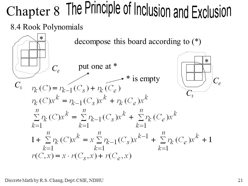 8.4 Rook Polynomials * decompose this board according to (*) * put one at * Ce * is empty Ce Cs Cs