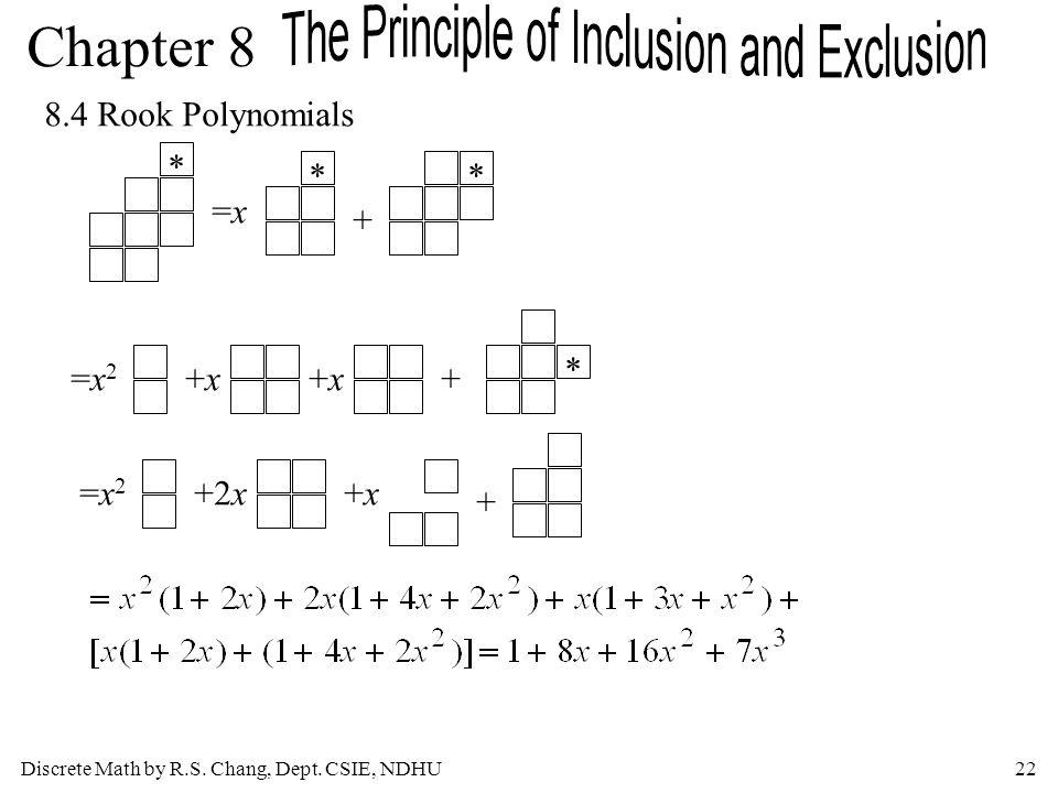 8.4 Rook Polynomials * * * =x + * =x2 +x +x + =x2 +2x +x +