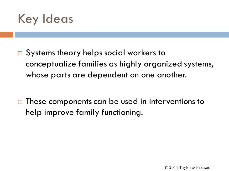 Key IdeasSystems theory helps social workers to conceptualize families as highly organized systems, whose parts are dependent on one another.