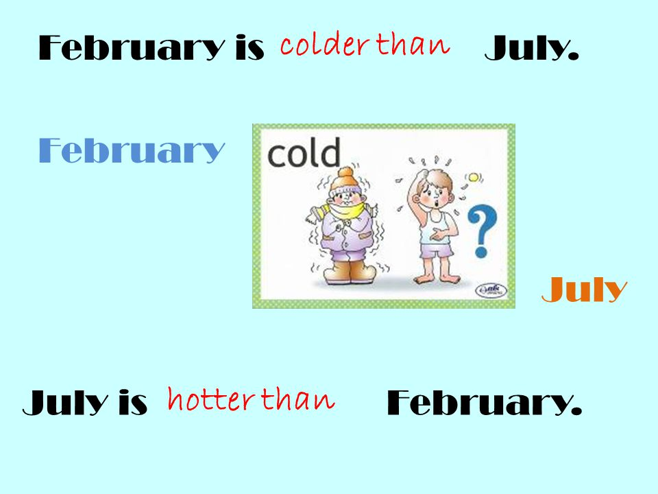 February is July. colder than. February. July. July is February.