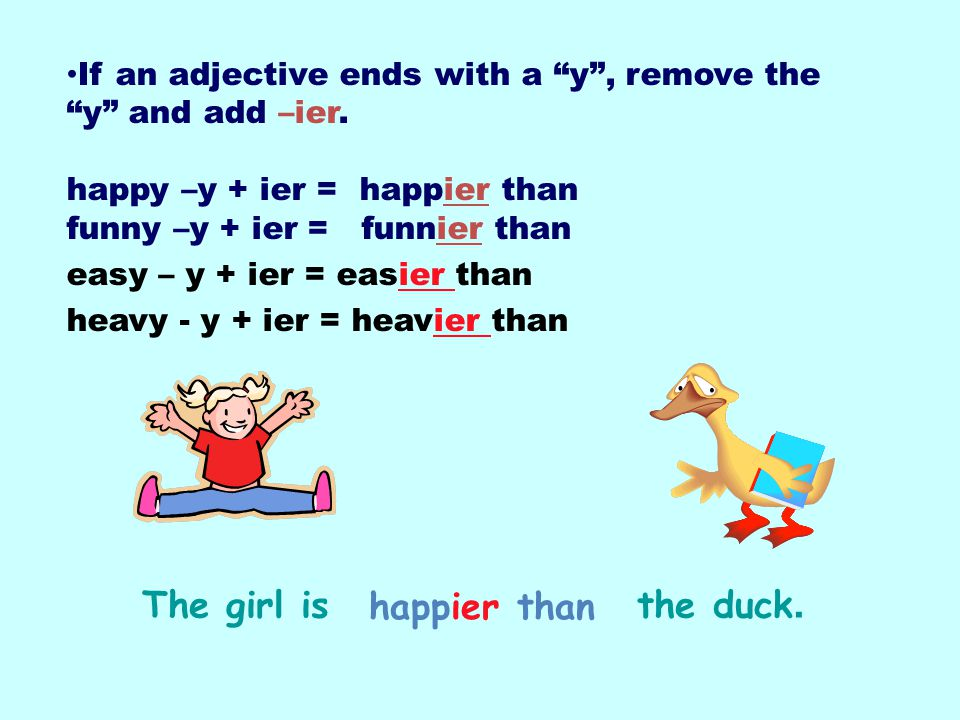The girl is the duck. happier than
