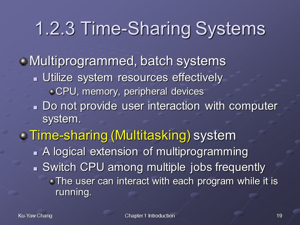 1.2.3 Time-Sharing Systems Multiprogrammed, batch systems