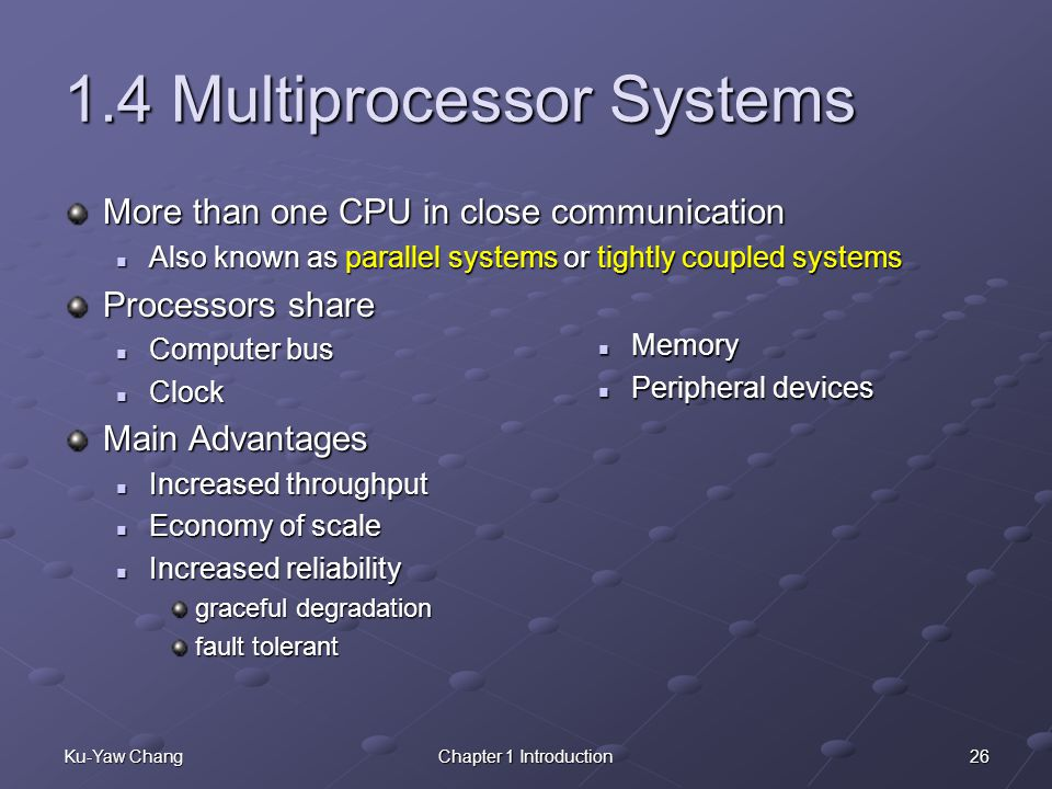 1.4 Multiprocessor Systems