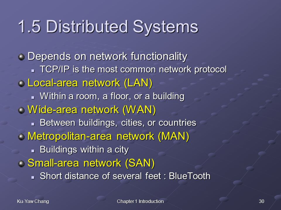 1.5 Distributed Systems Depends on network functionality