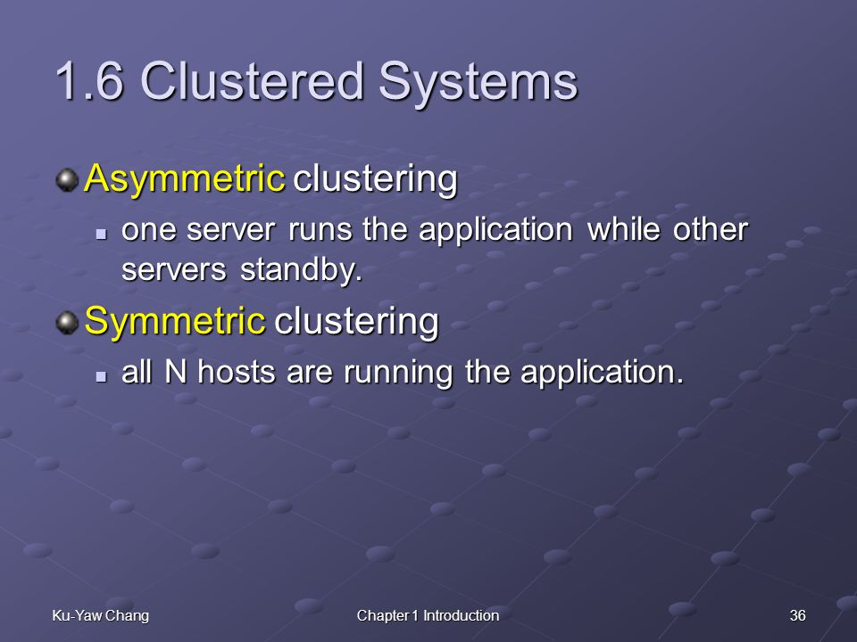1.6 Clustered Systems Asymmetric clustering Symmetric clustering