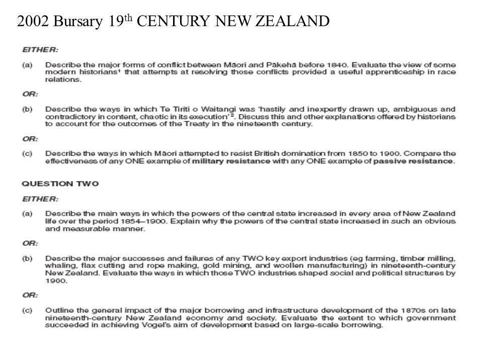 2002 Bursary 19th CENTURY NEW ZEALAND