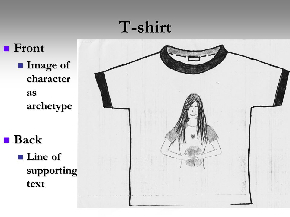T-shirt Front Back Image of character as archetype