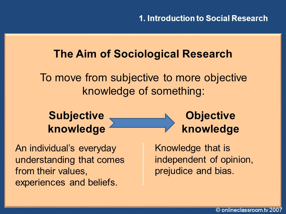 The Aim of Sociological Research