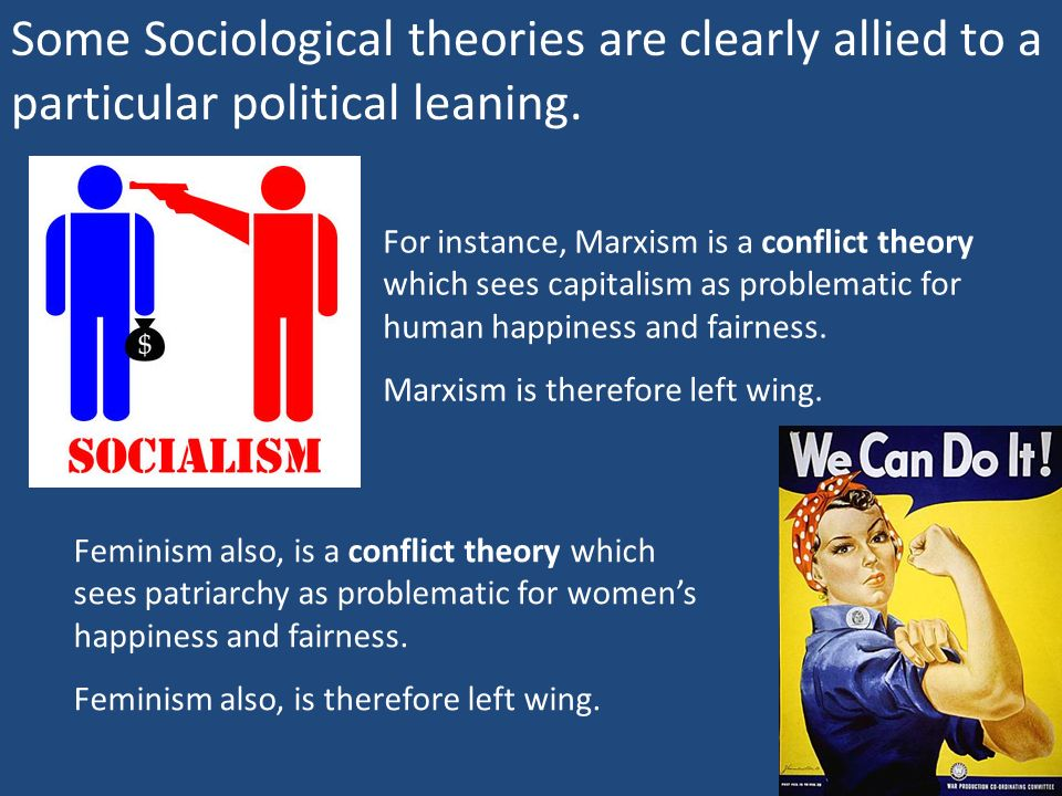 Some Sociological theories are clearly allied to a particular political leaning.