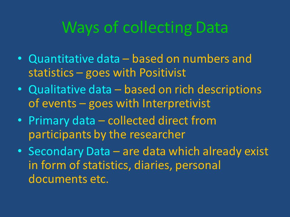 Ways of collecting Data